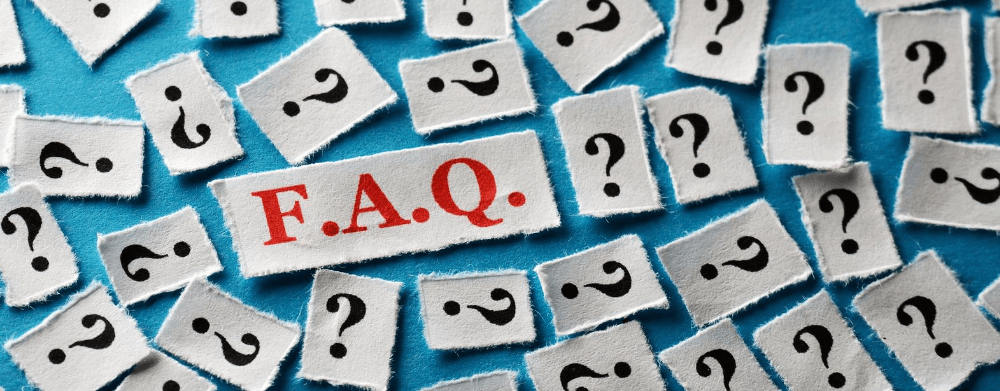 question marks with red faq